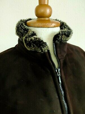 PETER STORM BROWN FAUX SUEDE FUR LINED WINTER JACKET Sz 12 Ladies Next Warm • 6£