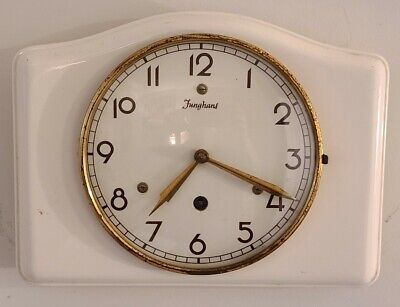 AU161.31 • Buy Vintage Working 1940's JUNGHANS Germany 8 Day Deco Porcelain Kitchen Wall Clock