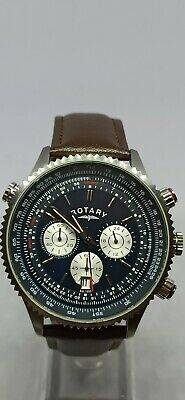 Rotary Men's Chronograph Blue Dial Date Brown Leather Strap Watch GS03642/05 • 28£