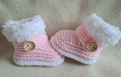£5.99 • Buy New Baby  Booties  BORN IN 2021. 0-3Months  Hand Knitted Pink/white