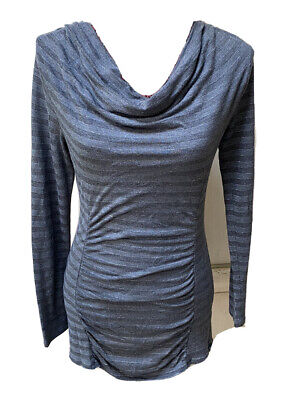 $ CDN8.87 • Buy White House Black Market Size S Long Sleeve Grey With Silver Stripe Rouching Top