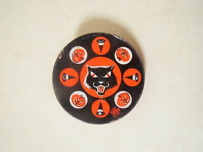 $ CDN44.34 • Buy Vintage 1950s US METAL TOY HALLOWEEN NOISEMAKER BLACK CAT Round
