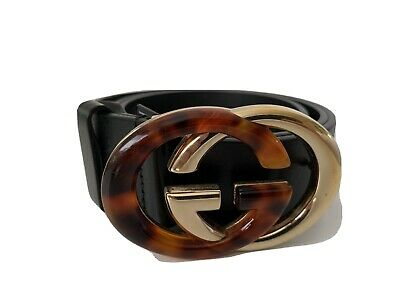 AU450 • Buy GUCCI Black And Tortoise Leather GG Buckle Belt, Size 80/32