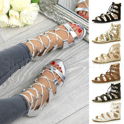 £12.99 • Buy Womens Ladies Flat Lace Up Strappy Ankle Tie Gladiator Ghillie Sandals Size