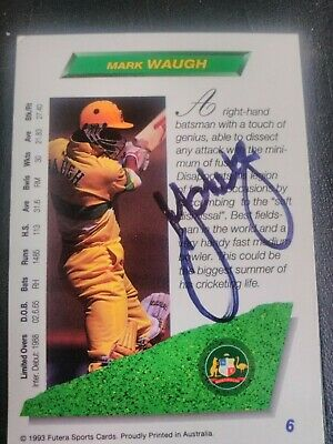 AU5 • Buy 1993 Futera Cricket Cards - Card No. 6 Signed By Mark Waugh