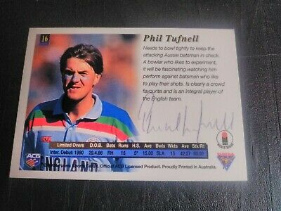 AU5 • Buy 1994 Futera Cricket Cards - Card No. 16 Signed By Phil Tufnell