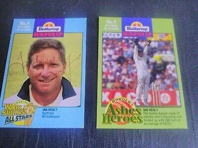 AU5 • Buy 1993-94 Butter Cricket Cards - Card No. 4 Signed By Ian Healy X 2