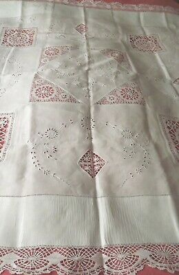 Vintage White Lace Edged Tablecloth With Lace Inserts & Cutwork • 18.99£