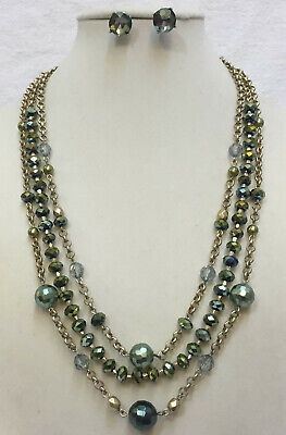 $ CDN23.86 • Buy Necklace & Earrings Green Iridescent Beads Gold Tone Metal Multi Strand Lot 2