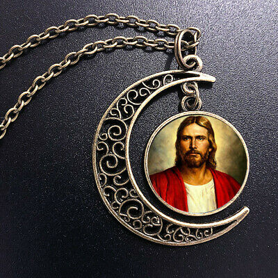 AU0.54 • Buy Jesus Christian Art Pendant Choker Jewelry Silver Moon Necklace For Women Dres