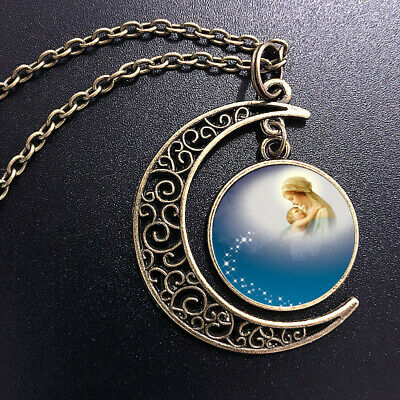 AU0.35 • Buy Virgin Mary Art Pendant Choker Jewelry Bronze Moon Necklace For Women Dres
