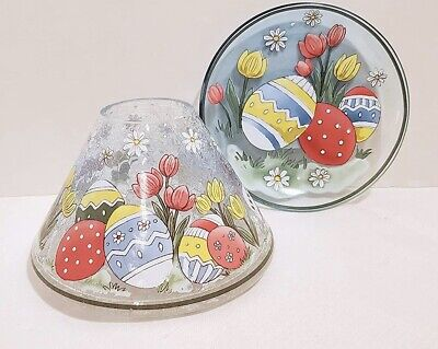 £36.35 • Buy Yankee Candle Easter Crackle Jar Shade/Topper And Candle Tray/Plate 2 Pc Set