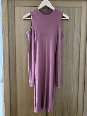 Primark Women's Ribbed Dress / Long Jumper, Size 10, Peach Red, Off The Shoulder • 4.50£