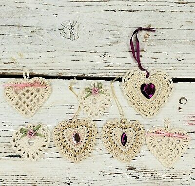 $ CDN8.77 • Buy Vintage Lot Of 7 Handmade Crocheted Starched HEARTS Christmas Ornaments