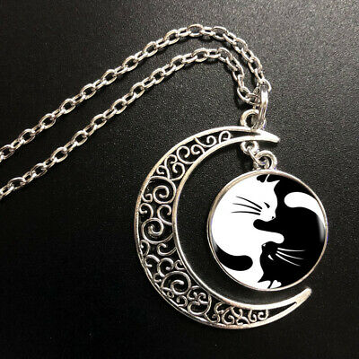 AU0.54 • Buy Yin Yang Cat Pendant Choker Statement Silver Moon Necklace For Women Dress