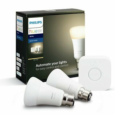 AU54.08 • Buy Philips Hue White Starter Kit B22  2 X Bulbs And Bridge - NEW -Smart Lighting