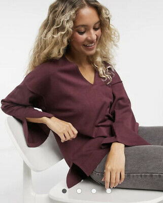 Native Youth Jumper Size 10 12 14 16 Slouchy V Neck Knitted Burgundy Top HC83 • 12.99£