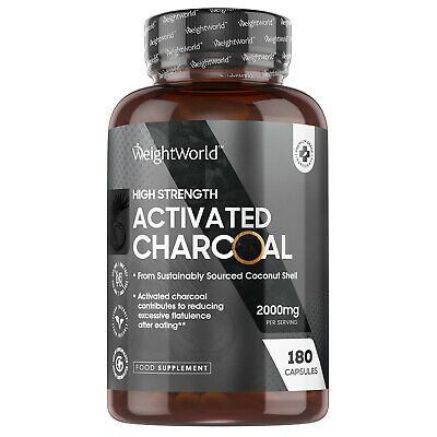 £14.99 • Buy Activated Charcoal 180 Capsules For Stomach Cleanse Gas Relief & Bloating 2000mg