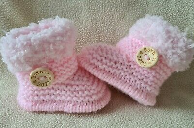 £5.99 • Buy New Baby  Booties  BORN IN 2021. 0-3Months  Hand Knitted Baby Pink/fluffy