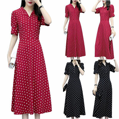 UK Women Polka Dot V Neck Maxi Dress Ladies Retro Summer Holiday Casual Sundress • 13.39£