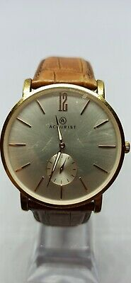Accurist Classic 7085  CAL.VD78 GOLD Dial Brown Leather Strap Gents -WITH BOX • 0.99£