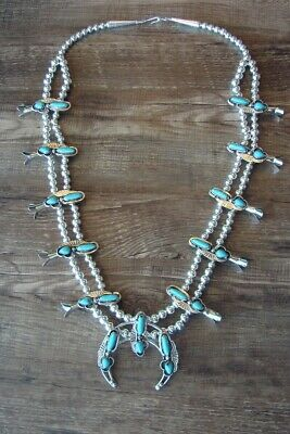$ CDN431.35 • Buy Navajo Jewelry Turquoise Squash Blossom Necklace By Bobby Cleveland