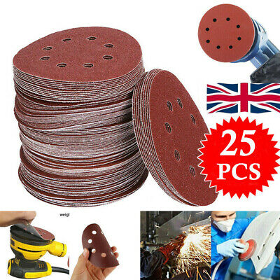 25pcs Wet And Dry Sanding Discs 5 Inch Sandpaper Hook And Loop Pads P60-P1000 • 4.99£