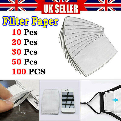 10-100PCS PM2.5 FILTERS For Washable Reusable Cotton Face Cover Activated Carbon • 6.19£