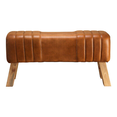 £119.99 • Buy Handmade Genuine Leather Tan Ribbed Stitch Bench Wooden Legs Natural Stain