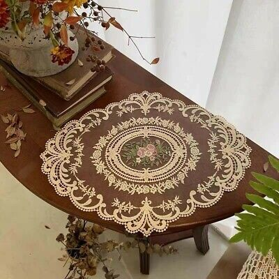 £3.82 • Buy Oval Floral Lace Embroidered Placemat Doilies Table Runner Mats Cover Decor Chic