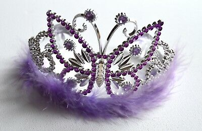 £4.99 • Buy NEW Plastic Silver Childrens Purple Butterfly Tiara Hair Accessory Party Prom