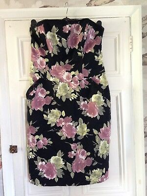 Rocha John Rocha Floral Print Strapless Dress Size 12 Wedding Party • 5£