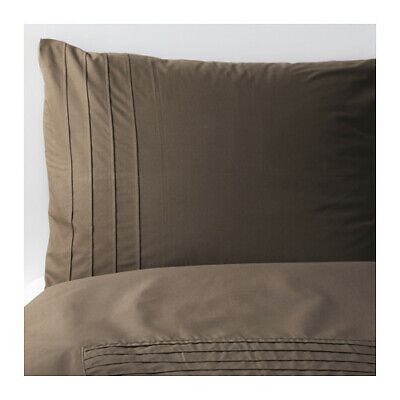 IKEA ALVINE STRA King Size Duvet Cover And 2 Pillowcases Brown Cotton 901.726.24 • 57.88£