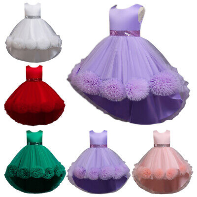 Princess Kids Dress Flower Girls High Low Party Dresses Wedding Gown Pageant New • 22.02£