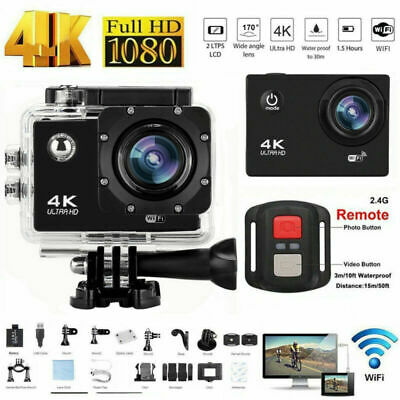 Action Camera 4K 1080P WiFi Camcorder Waterproof DV Sports Cam+Remote Underwater • 28£