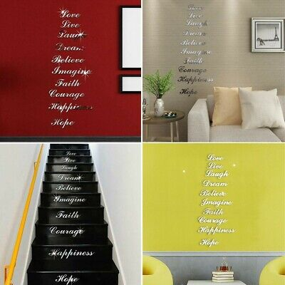 Acrylic Mirror Effect Quote Letters Word Decals Wall-Sticker Decor New • 7.57£