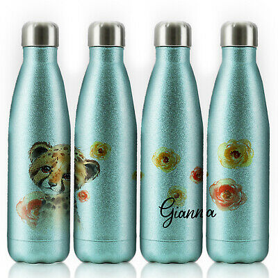 Personalised Water Bottle, Blue Glitter Stainless Steel Flask With Name, 500ml • 14.99£
