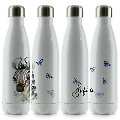 Personalised Water Bottle, Smooth White Stainless Steel Flask With Name, 500ml • 14.99£