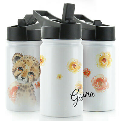 Personalised Water Bottle With Straw Lid, 350ml Sports Flask With Name / Initial • 13.99£