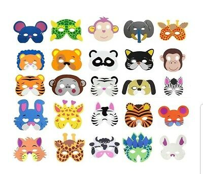 £9.99 • Buy 25 Kids Fun Animal Masks For Party Bag Fillers/masquerade/birthday Party