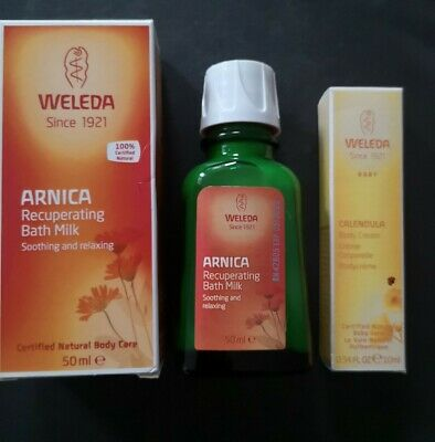 £8.99 • Buy Weleda Arnica Recuperating Bath Milk 50ml Brand New In Box +10ml Calendula Cream