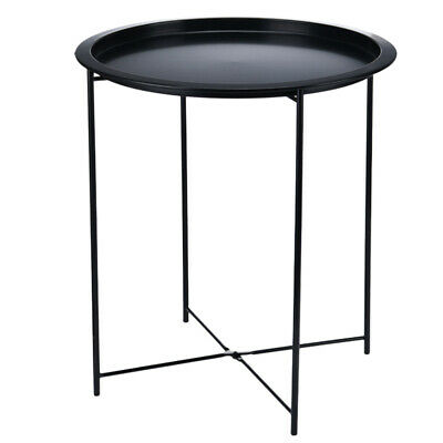 Round Metal Small Coffee Table Sofa Side Night Stand End Tables W/ Folding Legs • 18.68£