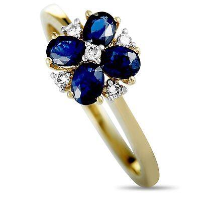 AU418.64 • Buy 14K Yellow Gold 0.08 Ct Diamond And Sapphire Flower Ring