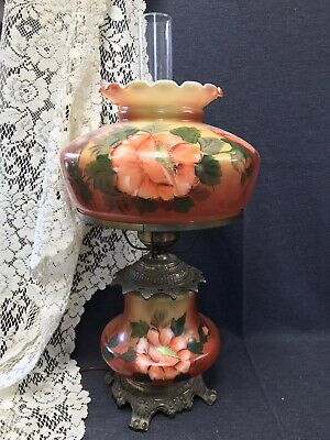 $ CDN190.31 • Buy Vintage Hedco 3 Way GWTW Table Lamp Hand Painted Orange Floral Design 22  Tall