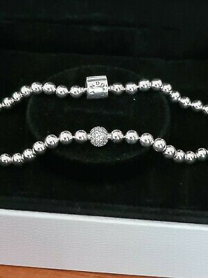 AU80 • Buy Pandora Silver  Bracelets Beads And Pave 21cms Brand New