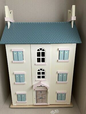 Le Toy Van Dolls House Cherry Tree Hall Incl Almost All Furniture 35(d)x92(h)x66 • 31£