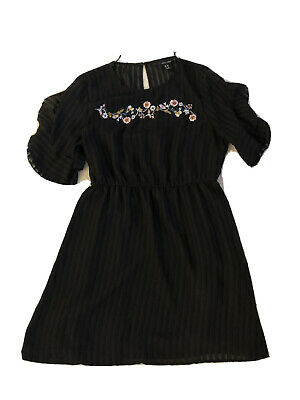 Womens Black Dress New Look 16 Floral Detail  • 5£