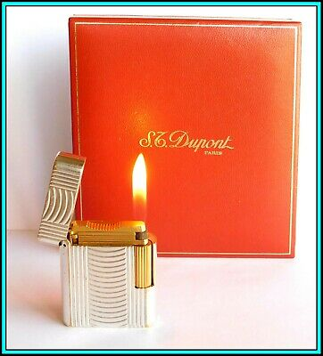 £208.86 • Buy S.T. DUPONT  Soubreny  Silver & Gold Plated Lighter / Briquet - SERVICED