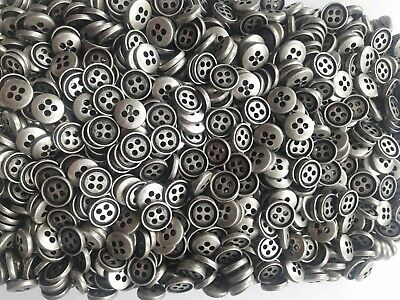 £3.90 • Buy 10pc 9mm Pewter Grey 4 Hole Metal Shirt Blouse Button 0009