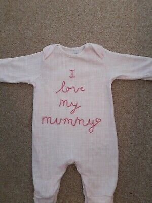 Baby Girls ' I Love My Mummy' 0-3 Months Sleepsuit/ Outfit • 3.75£